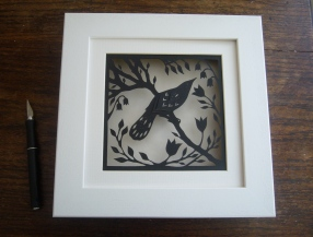 Bird in Spring (black) in box frame.