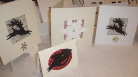 Reindeers, Snowflake, and small Robin Christmas cards