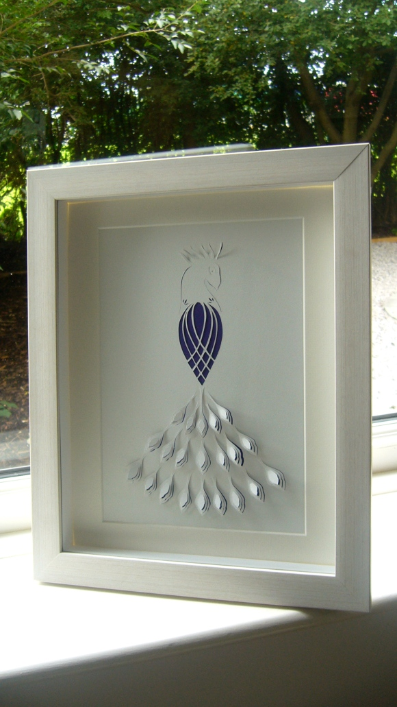 Peacock papercut framed2