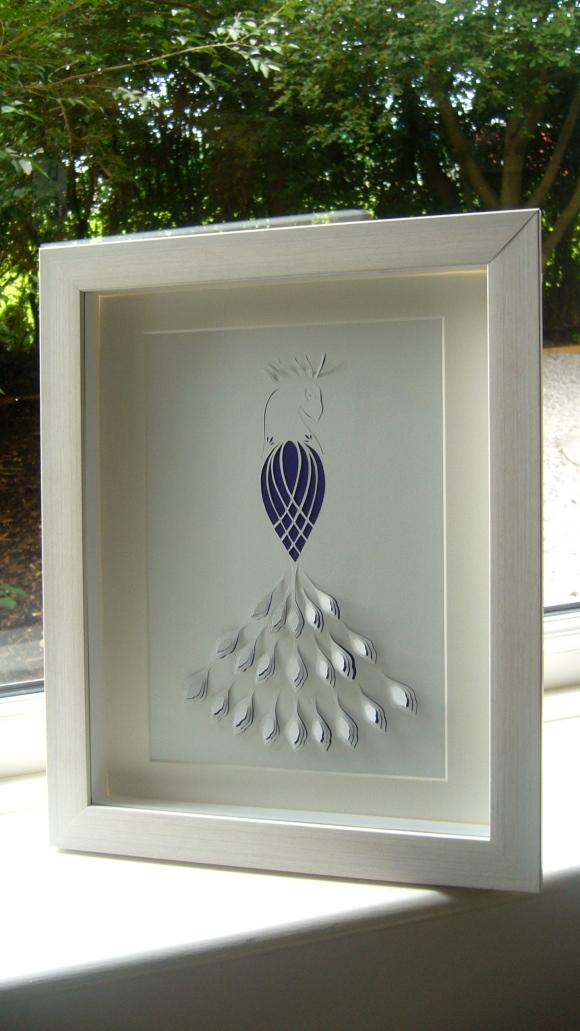Peacock papercut framed2