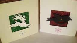 Robin & reindeer glitter cards
