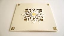 Square tri-fold card: flower