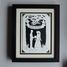 """Entwined"" Commissioned wedding papercut framed."
