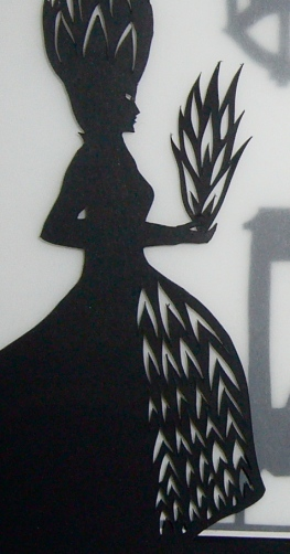 Frau Trude detail - final framed papercut