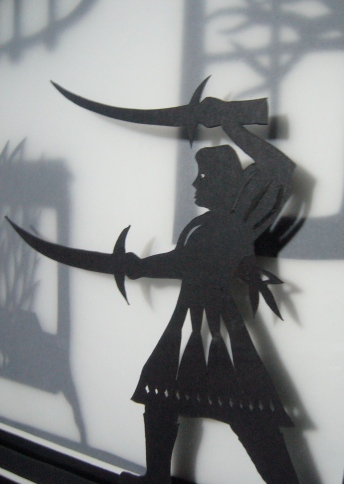 Frau Trude final framed papercut - girl (detail)