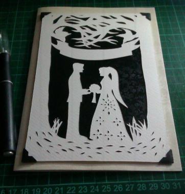"""Entwined"" wedding papercut mounted onto A5 card"