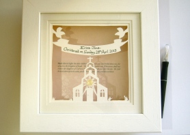 Commissed Christening papercut in 10.5x10.5 box frame