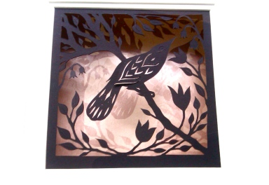 Bird in Spring: black papercut