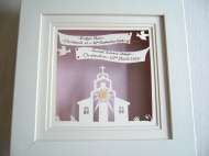 Commissioned Christening papercut in 10.5x10.5 box frame