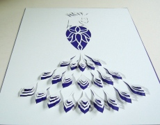A4 papercut with royal purple background paper