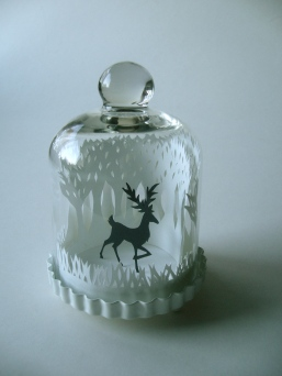 Winter Woods and Reindeer papercut bell jar3