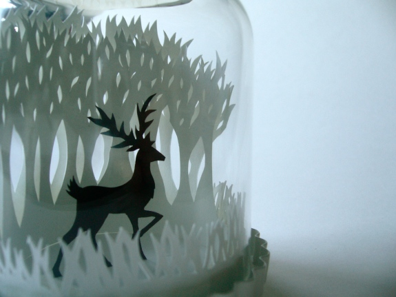 Winter Woods & Reindeer papercut bell jar detail