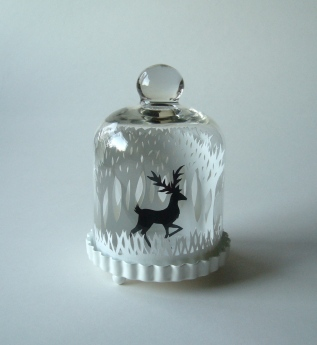 Winter Woods and Reindeer papercut in miniature glass bell jar