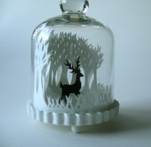 Winter Woods & Reindeer papercut bell jar4
