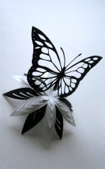 Butterfly and flower papercut
